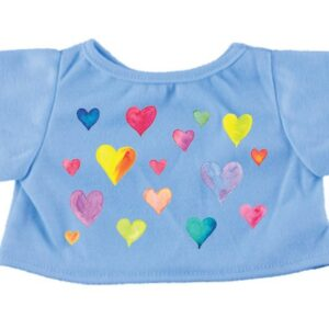 Blue Teddy Bear T-Shirt with Hearts